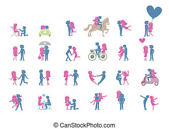 24 Couple pose Set Illustration