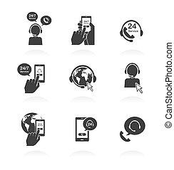24, dienst, iconen, steun, globaal, uren, online, open, dag