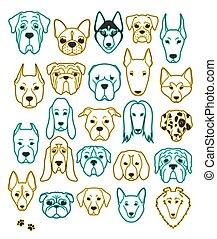 24, différent, ensemble, handmade., néon, tête, chien, ...