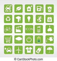 24, ecología, vector, iconos, set.