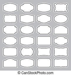 24, etiquetas, jogo, (vector), em branco