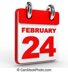 24 february calendar on white background. 3D Illustration.