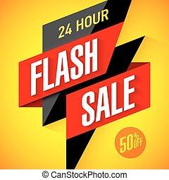 24, flash, bannière, vente, heure