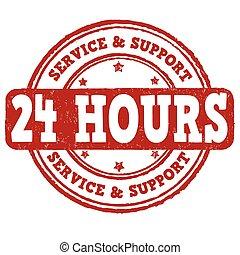 24, francobollo, sostegno, servizio, ora