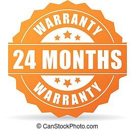 24, garantia, meses, vetorial, ícone