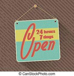 24, grunge, week., cégtábla., napok, óra, háttér., vektor, csüngött, 7, nyílik, elvont, retro
