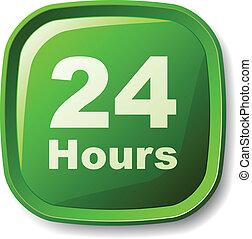 24 heures, bouton, vecteur, vert