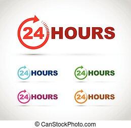 24 heures, ensemble, icône