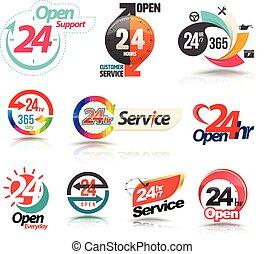 24 heures, ouvert, service clientèle