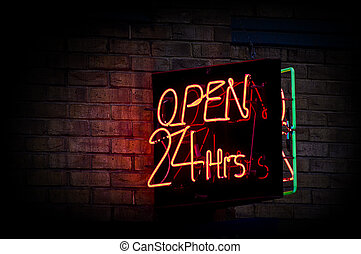 24 heures, ouvert, signe néon