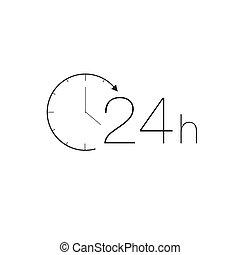 24 heures, service, icône