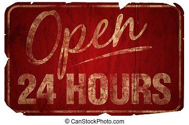 24 heures, vieilli, ouvert
