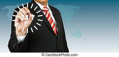 24, hombre de negocios, círculo, hora