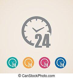 24 horas abertas, um, dia, ícones