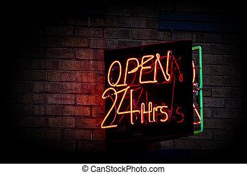 24 horas, abertos, sinal néon