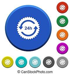 24 horas, adesivo, setas, botões, chanfrado