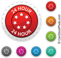 24 hour award button. Vector.