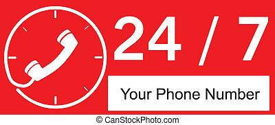 24 hour Call Center - Red Sign 24 hour Call Center
