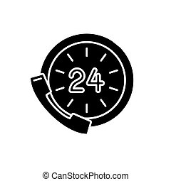 24 hour communication black icon, vector sign on isolated...
