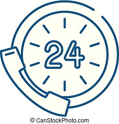 24 hour communication line concept icon. 24 hour communication flat vector website sign, outline symbol, illustration.