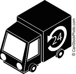 24 hour delivery icon, simple style