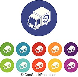 24 hour delivery icons set vector color