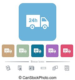 24 hour delivery truck flat icons on color rounded square backgrounds