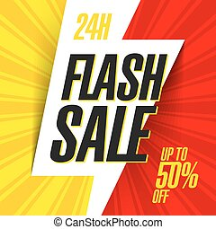 24 hour Flash Sale bright banner vector illustration