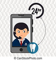 24-hour health odontology doctor with isolated icon design -...