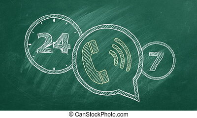 Phone icon with lettering 24-7 drawn in chalk on a green chalkboard. Contact centre, call centre, service centre, info centre, customer support. 24-hour hotline. Seamless loop video.