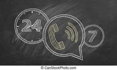 Phone icon with lettering 24/7 drawn in chalk on a blackboard. Contact center, call center, service center, info center, customer support. 24-hour hotline. Seamless loop video.