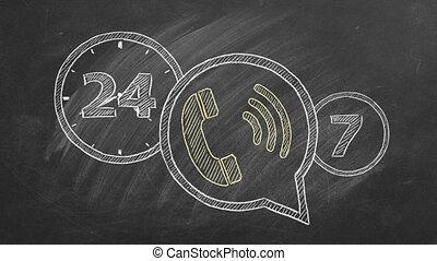 24-hour, hotline., illustration., animé
