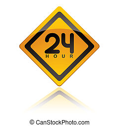 24 Hour icons - bright yellow 24 hour icon symbol with...