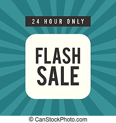 24 Hour Only Flash Sale Square Frame Blue Background Vector Image