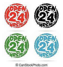 24 hour open icon set in various color design illustration