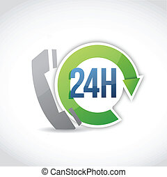 24 hour phone customer support illustration