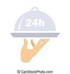 24 Hour Room Service Icon. Flat Color Design. Vector ...