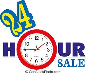 24 Hour Sale banner with clock vector illustration eps10
