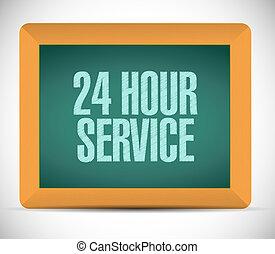 24 hour service board sign illustration design over a white ...