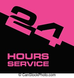 24 hour service icon in pink and black color illustration
