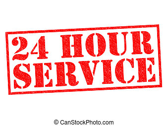 24 HOUR SERVICE red Rubber Stamp over a white background.