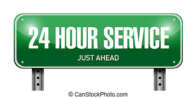 24 hour service street sign illustration design