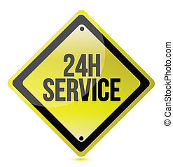 24 hour service yellow sign