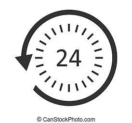 24-hour, servizio, icona