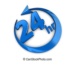 24 hour sign - 3d rendering, isolated on white background,...