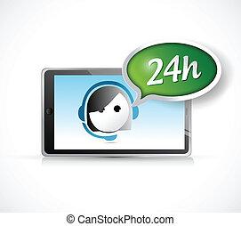 24 hour support on a tablet illustration design