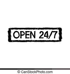 24 hour Symbol 24/7 stamp Illustration design