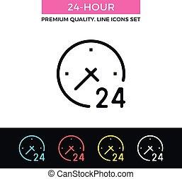 24-hour, vector, delgado, icon., línea, icono