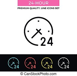 24-hour, vector, mager, icon., lijn, pictogram