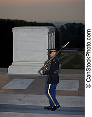 24 hour vigil - soldier walking guard duty at the Tomb of...